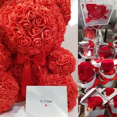 Composition florale et rose éternelle pour la Saint-Valentin à côté de Moissac